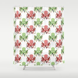 Festive Holiday Octopus (Red/Green) Shower Curtain