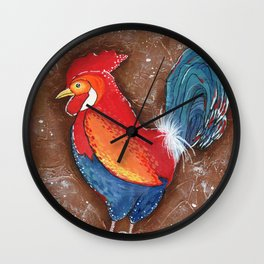 Colorful Rooster on Brown Background Wall Clock