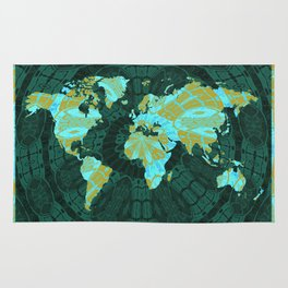 Vintage World Map with Green Aqua and Mustard Tribal Motif Rug