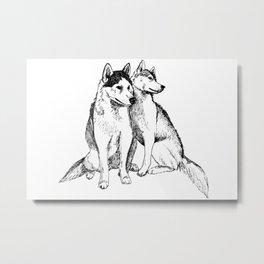 Siberian Husky Pair Metal Print