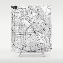 San Jose Map Gray Shower Curtain