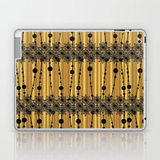 Abstract pattern with black lace stripes on a mustard background. Laptop & iPad Skin