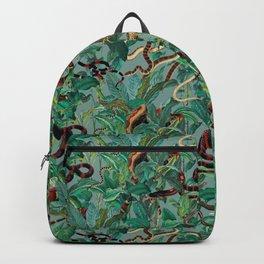 Leaf and Snake pattern Backpack