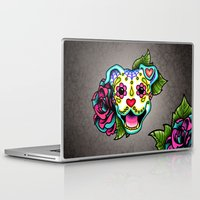 pit bull Laptop & iPad Skins featuring Smiling Pit Bull in White - Day of the Dead Happy Pitbull - Sugar Skull Dog by Pretty In Ink