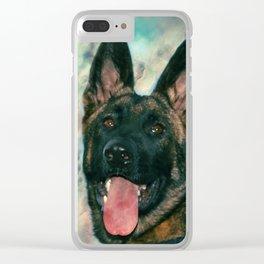 Working German Shepherd Dog GSD -  Watercolor Clear iPhone Case