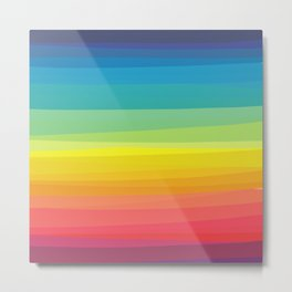 Rainbow abstract colorful Waves inspired Metal Print