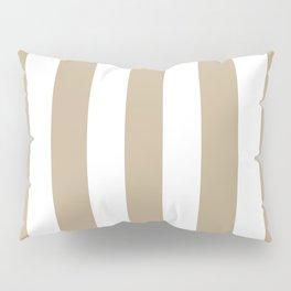 Khaki (HTML/CSS) (Khaki) grey - solid color - white vertical lines pattern Pillow Sham
