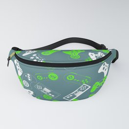 Video Games green on grey Fanny Pack