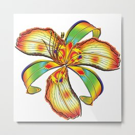 Rockin Tiger Lily Flower Psychedelic Abstract Metal Print