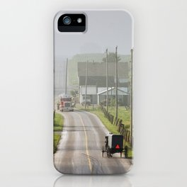 Amish Buggy confronts the Modern World iPhone Case