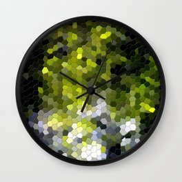 Green mosaic tile abstract Wall Clock