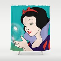 snow white Shower Curtains featuring Snow White by mark ashkenazi