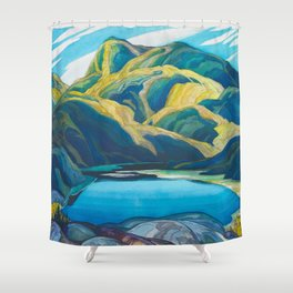 Canadian Landscape Oil Painting Franklin Carmichael Art Nouveau Post-Impressionism Lone Lake Shower Curtain
