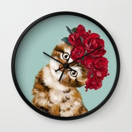 Baby Cat with Red Rose Crown Wall Clock
