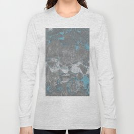 Blue and Gray Marble Long Sleeve T-shirt
