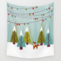 winter Wall Tapestries featuring Winter  by Kakel