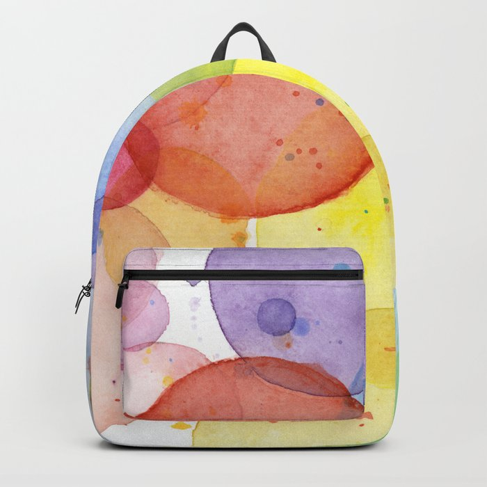 Watercolor Abstract Rainbow Circles and Splatters Backpack