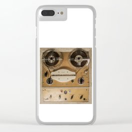 Vintage tape sound recorder reel to reel Clear iPhone Case