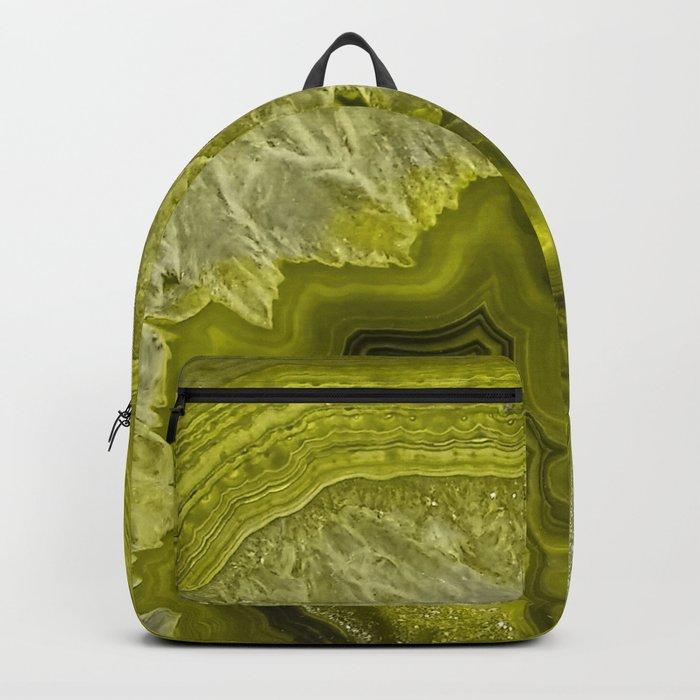 Green pantone agate mineral gem stone- Beautiful backdrop Backpack