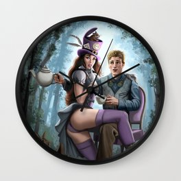 Steampunk Alex in Wonderland and the Madhatter Wall Clock