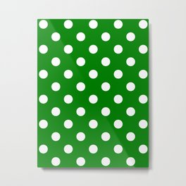Polka Dots - White on Green Metal Print