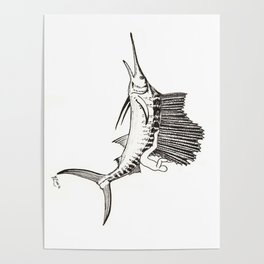 Surfing the fish Poster