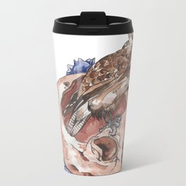 Hawk and Skull Metal Travel Mug