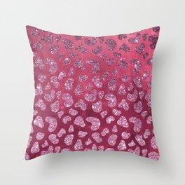 Abstract pink burgundy glitter gradient animal print Throw Pillow