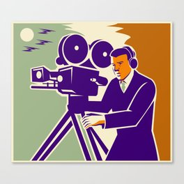 Cameraman Film Crew Vintage Video Movie Camera Canvas Print