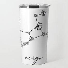 Virgo Floral Zodiac Constellation Travel Mug