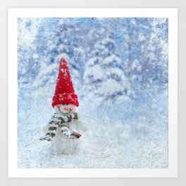 Red Cute Snowman frozen freeze Art Print