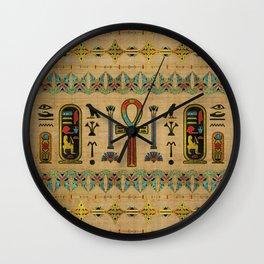 Egyptian Cross - Ankh Ornament on papyrus Wall Clock