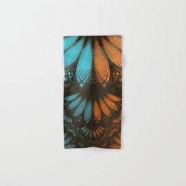 Shikoba Fractal -- Beautiful Leather, Feathers, and Turquoise Hand & Bath Towel
