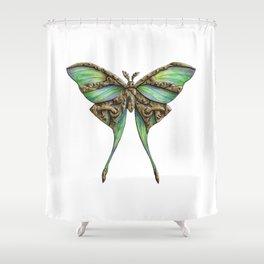 Steampunk Green Luna Moth Shower Curtain