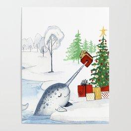 Christmas Narwhal Poster