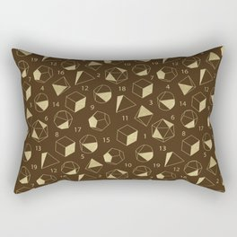 Dice Outline in Gold + Brown Rectangular Pillow