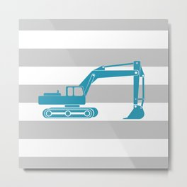 Turquoise Excavator Metal Print