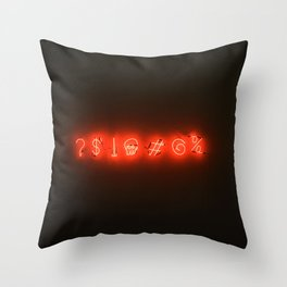 Neon Sweary (Color) Throw Pillow