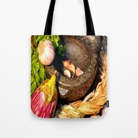vegetables Tote Bags featuring vegetables by  Agostino Lo Coco