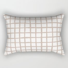 Strokes Grid - Nude on Off White Rectangular Pillow