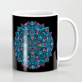 Pink, light blue floral mandala on black Coffee Mug