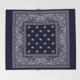 Bandana - Navy Blue - Southwestern Throw Blanket