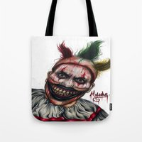 ahs Tote Bags featuring Twisty-AHS No.2 by MELCHOMM