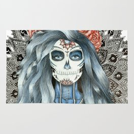 Day of the Dead Woman Mandala Rug