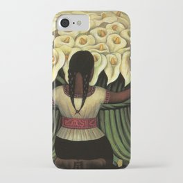 1941 Classical Masterpiece Calla lily 'Flower Seller' by Diego Rivera iPhone Case