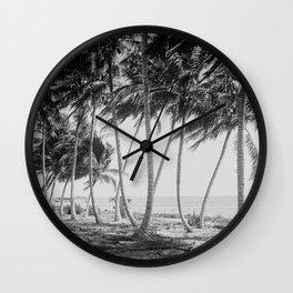 Miami Florida Palm Trees Black and White Vintage Photograph, 1915 Wall Clock