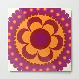 Floral Colorful Mandala Metal Print