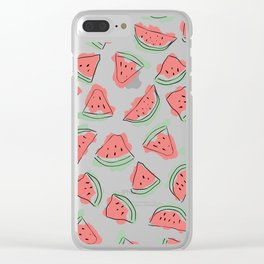 Modern Artsy Watercolor Coral Mint Black Watermelon Clear iPhone Case