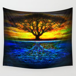 Duality Tree of Life Reflection Moon & Sun Day & Night Painting by CAP Wall Tapestry