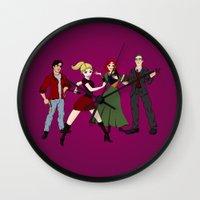 buffy Wall Clocks featuring Cartoony Buffy and the gang by Nana Leonti